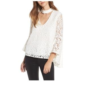 Wayf 'Ryan' lace choker bell sleeve top